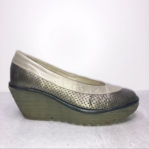 Fly London Yoko Perforated Leather Wedge Shoes